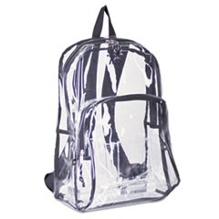Backpack, PVC Plastic, 12 1/2 x 5 1/2 x 17 1/2, Clear/Black