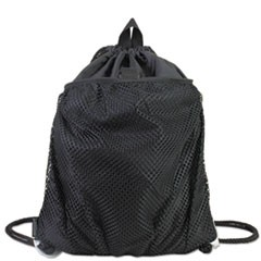 Front Mesh Pocket Drawstring Cinch Sack, Black