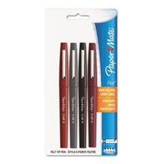 Flair Felt Tip Marker Pen, Assorted Ink, Medium, 4 Pens/Set