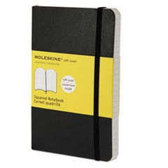Classic Softcover Notebook, Squared, 5 1/2 x 3 1/2, Black Cover, 192 Sheets
