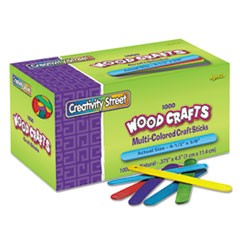 "Colored Wood Craft Sticks, 4.5"" x 0.38"", Wood, Assorted, 1,000/Box"