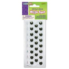 Peel 'N Stick Wiggle Eyes, Assorted Sizes, Black, 125/Pack