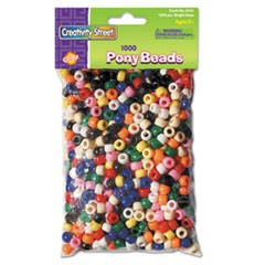 Creativity Street Pony Beads, Assorted Bright Hues, 6 mm x 9 mm, 1000 Pieces