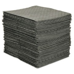 MRO Plus Medium Sorbent Pads, .205gal, 15w x 19l, Gray, 100/Carton