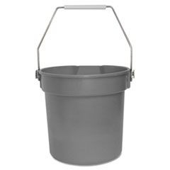 Deluxe Heavy-Duty Bucket, Gray, Polypropylene, 10qt, 10 5/8dia x 10 1/4h