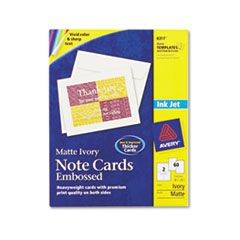 Embossed Note Cards, Inkjet, 4 1/4 x 5 1/2, Matte Ivory, 60/Pk w/Envelopes
