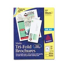 Tri-Fold Brochures for Inkjet Printers, 8 1/2 x 11, White, 100 Sheets/Box