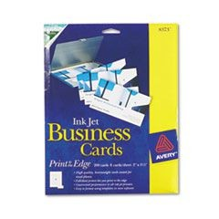 Print-to-the-Edge Microperf Business Cards, Inkjet, 2x3 1/2, Wht, Gloss, 200/BX
