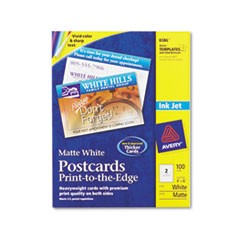 Postcards, Inkjet, 4 x 6, 2 Cards/Sheet, White, 100 Cards/Box