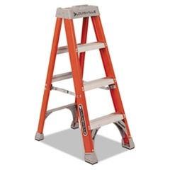 "Fiberglass Heavy Duty Step Ladder, 23"" Working Height, 300 lbs Capacity, 3 Step, Orange"