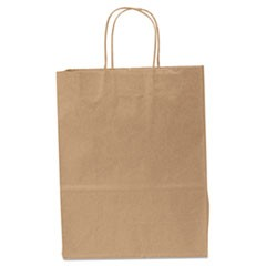 "Traveler Paper Shopping Bags, 10""W x 5""D x 13""H, Brown"