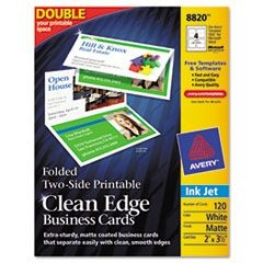Folded Two-Sided Clean Edge Business Cards, Inkjet, 2 x 3 1/2, White, 120/Box