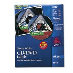 Inkjet CD Labels, Glossy White, 20/Pack