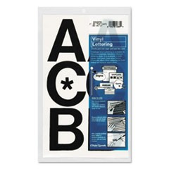 "Press-On Vinyl Uppercase Letters, Self Adhesive, Black, 3""h, 50/Pack"