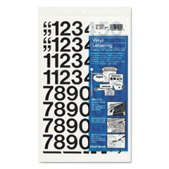 "Press-On Vinyl Numbers, Self Adhesive, Black, 1""h, 44/Pack"