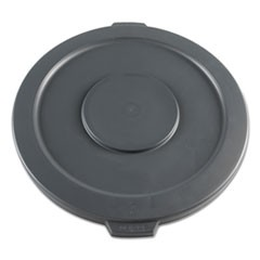 Lids for 32 gal Waste Receptacle, Flat-Top, Round, Plastic, Gray