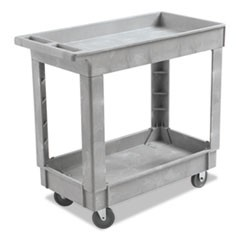 Utility Cart, Two-Shelf, 16w x 34d, Swivel Casters, Resin, Gray