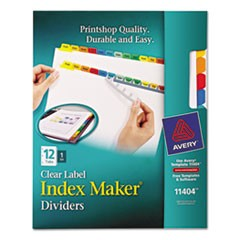 Index Maker Print & Apply Clear Label Dividers w/Color Tabs, 12-Tab, Letter