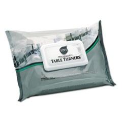 Table Turner Wet Wipes, 7 x 11 1/2, White, 80 Wipes/Pack, 12 Packs/Carton
