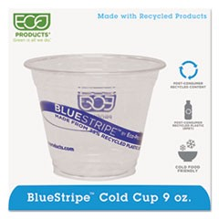 BlueStripe 25% Recycled Content Cold Cups, 9 oz., Clear/Blue, 50/Pk, 20 Pk/Ct