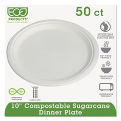 "Compostable Sugarcane Dinnerware, 10"" Plate, Natural White, 50/Pack"
