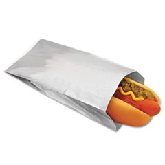 Foil Single-Serve Hot Dog Bags, 3 1/2 x 1 1/2 x 8 1/2, Silver,1000/Carton