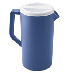 Plastic Three-Way-Lid Pitcher, 36oz, Blue