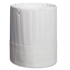 Pleated Chef's Hats, Paper, White, Adjustable, 9 in Tall, 24/Carton