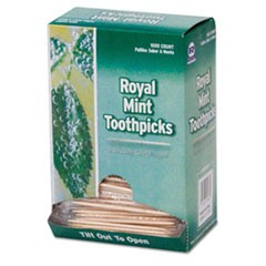 "Mint Cello-Wrapped Wood Toothpicks, 2 1/2"", Natural, 1000/Box, 15 Boxes/Carton"