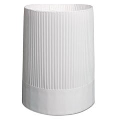 Stirling Fluted Chef's Hats, Paper, White, Adjustable, 10 in Tall, 12/Carton