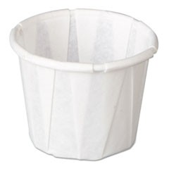 Squat Paper Portion Cup, Pleated, .5oz, White, 250/Sleeve, 20 Sleeve/Carton