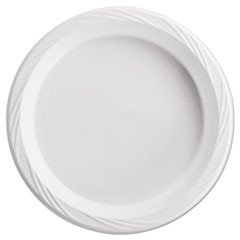 Plastic Plates, 10 1/4 Inches, White, Round, Lightweight, 125/Pack