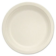 "Compostable Tableware, 10"" Plate, Beige, 500/Box"