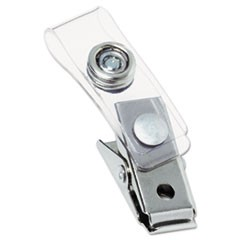 Metal Badge Clips with Plastic Straps, Silver, 100/Box