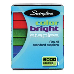 "1Color Bright Staples, 0.25"" Leg, 0.5"" Crown, Assorted, 6,000/Pack"
