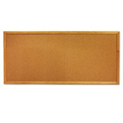 Classic Slim Line Cork Bulletin Board, 12 x 36, Oak Finish Frame