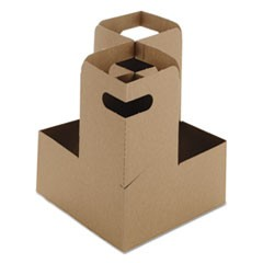 Four Drink Carrier Take-Out Tray, Kraft, 8 1/2 x 7 x 7, 200/Carton