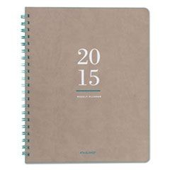 Metropolitan Weekly/Monthly Wirebound Planner, 8 3/8 x 11, Tan/Navy, 2016