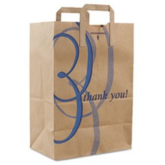 "Stock Thank You Handle Bags, 12""w x 7""d x 17""h, Brown Kraft, 300/Bundle"