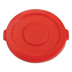 "Round Flat Top Lid, for 32 gal Round BRUTE Containers, 22.25"" diameter, Red"