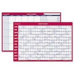 Horizontal Erasable Wall Planner, 36 x 24, White/Red, 2016