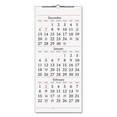 Three-Month Reference Wall Calendar, 12 x 27, 2015-2017