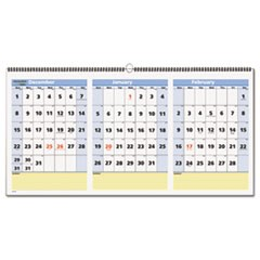 QuickNotes Three-Month Wall Calendar, Horizontal Format, 23 1/2 x 12, 2019