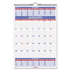 Three-Month Wall Calendar, 15 1/2 x 22 3/4, 2019