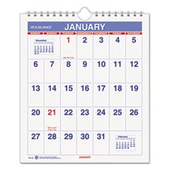 Mini Monthly Wall Calendar, 6 1/2 x 7 1/2, White, 2019