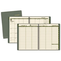 Recycled Weekly/Monthly Classic Appointment Book, 8 1/4 x 10 7/8, Green, 2016
