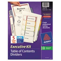 Ready Index Customizable Executive Table of Contents, Asst Dividers, 5-Tab, Ltr