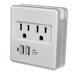 Surge Outlet, 2 Outlets, 2 USB Ports, 245 Joules, Gray
