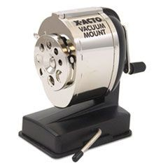 KS Manual Vacuum Mount Classroom Pencil Sharpener, Black/Chrome