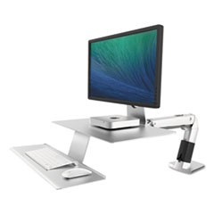 WorkFit-A Sit-Stand Workstation w/Suspended Keyboard, Apple iMac, Platinum